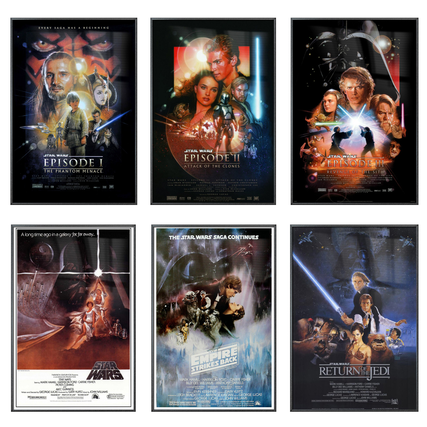 "Star Wars: Episode I, II, III, IV, V & VI - 6 Piece Movie Poster / Print Set (Regular Style Designs) (Size: 27"" x 40"" each)"