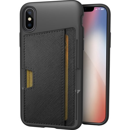 "Silk iPhone X/XS Wallet Case - Q CARD CASE [Slim Protective Kickstand CM4 Grip Cover] - ""Wallet Slayer Vol.2"" - Black Onyx"