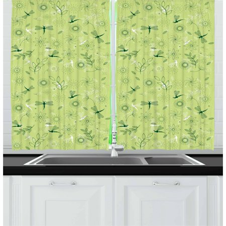 Dragonfly Curtains 2 Panels Set, Flowers and Dragonflies Kids Boys Spring Season Inspiration Image, Window Drapes for Living Room Bedroom, 55W X 39L Inches, Pistachio and Hunter Green, by -