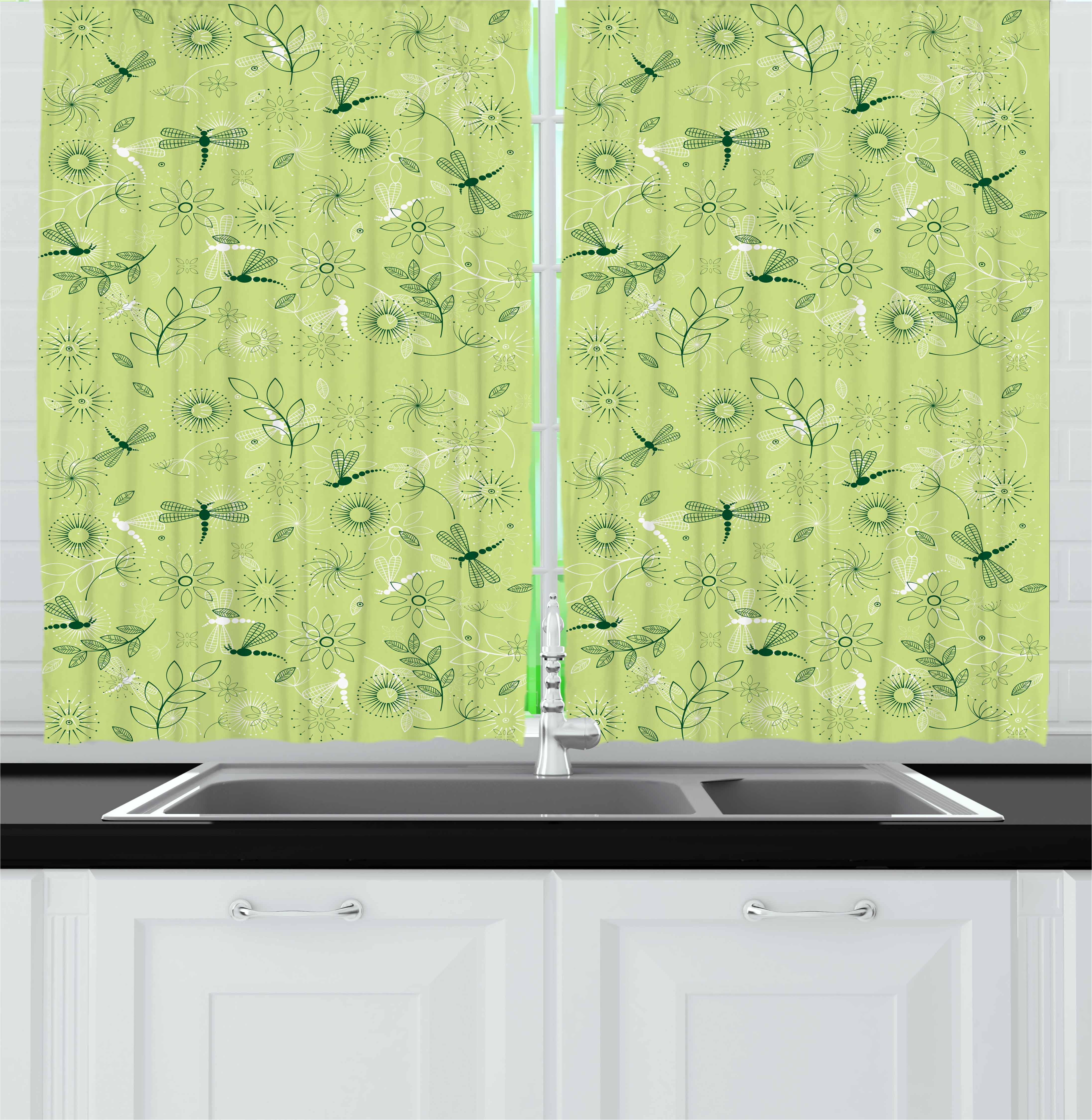 Dragonfly Curtains 2 Panels Set, Flowers and Dragonflies Kids Boys Spring Season Inspiration Image, Window Drapes for Living Room Bedroom, 55W X 39L Inches, Pistachio and Hunter Green, by Ambesonne