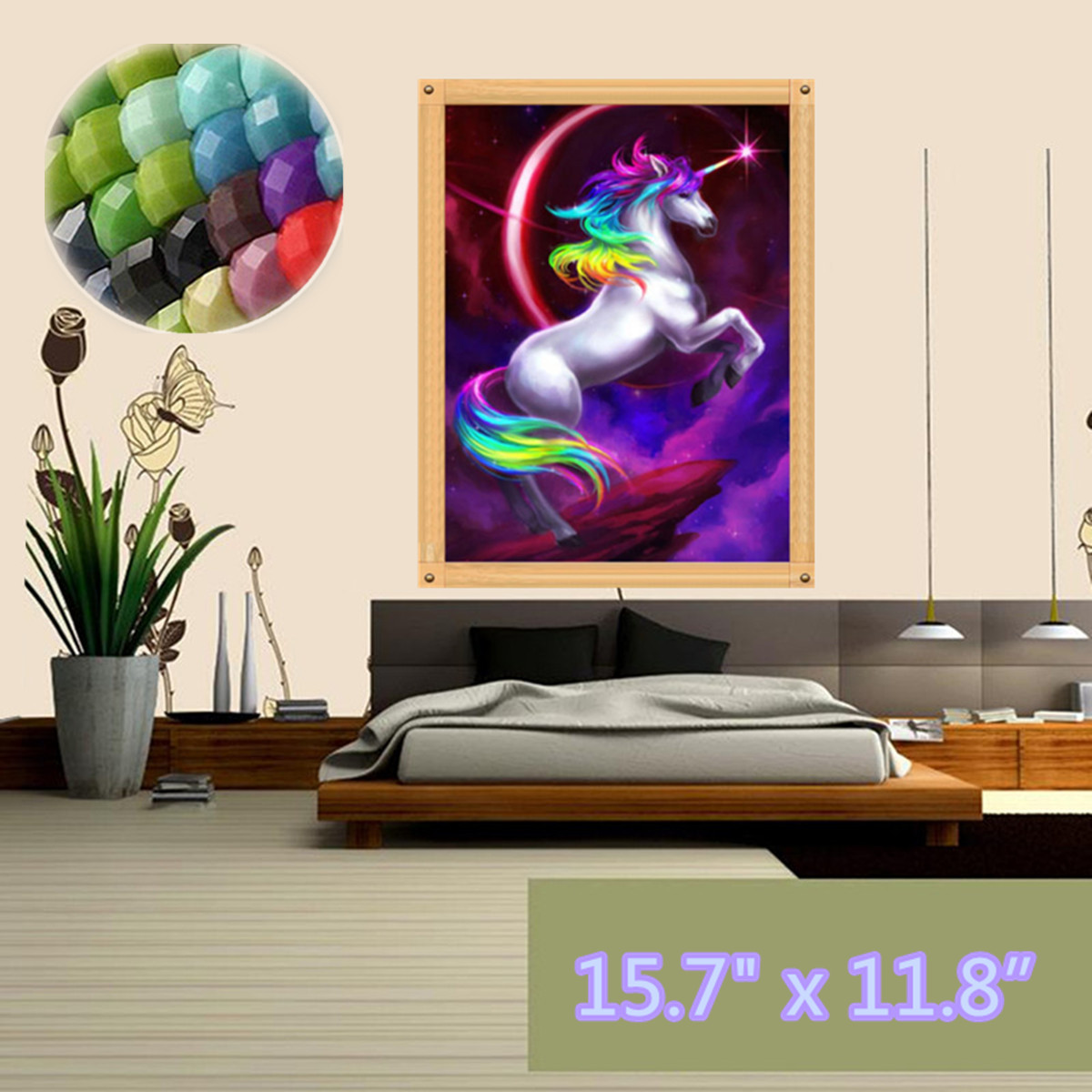 """5D DIY Crystal Diamond Jewelry Wall Art Painting by Number Kit, Full Drill Flying Unicor n Animal Embroidery Cross Stitch Rhinestone Pictures Arts Craft Home Wall Decor 11.8x15.8"""""""