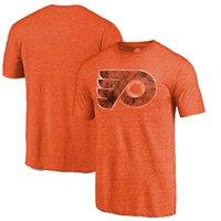 Philadelphia Flyers Fanatics Branded Throwback Vintage Logo Tri-Blend T-Shirt - Orange