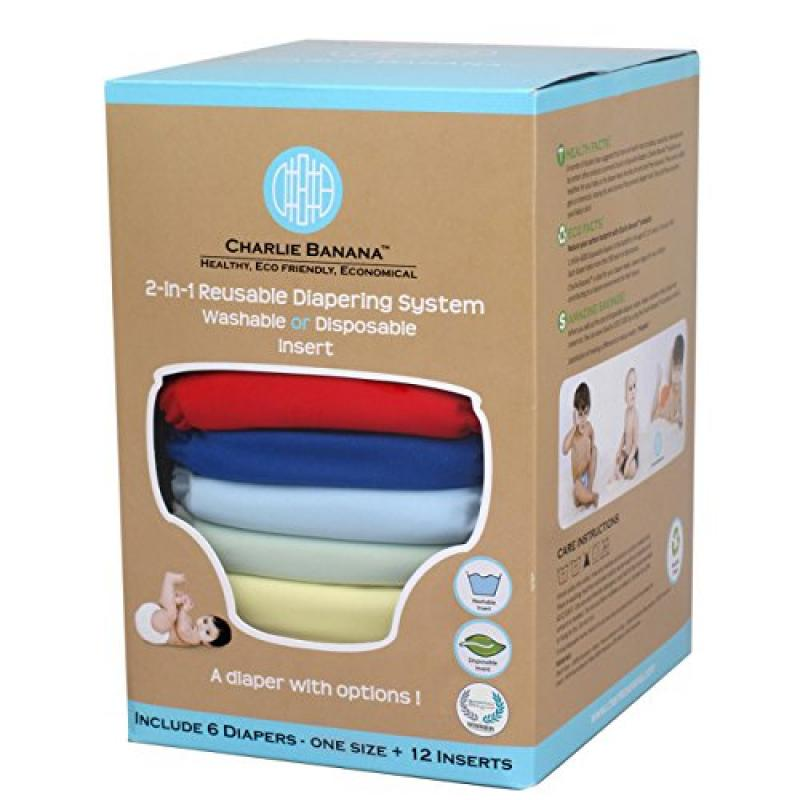 Charlie Banana 2-in-1 Reusable Diapers, Boy, 6 Diapers- O...