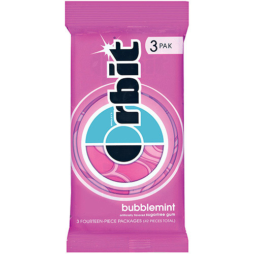 Orbit, Sugar Free Bubblemint Chewing Gum, 3 Ct