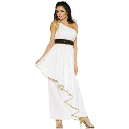 Athena Womens Greek Roman God Goddess White Toga Halloween Costume (Roman Goddess Halloween Makeup)