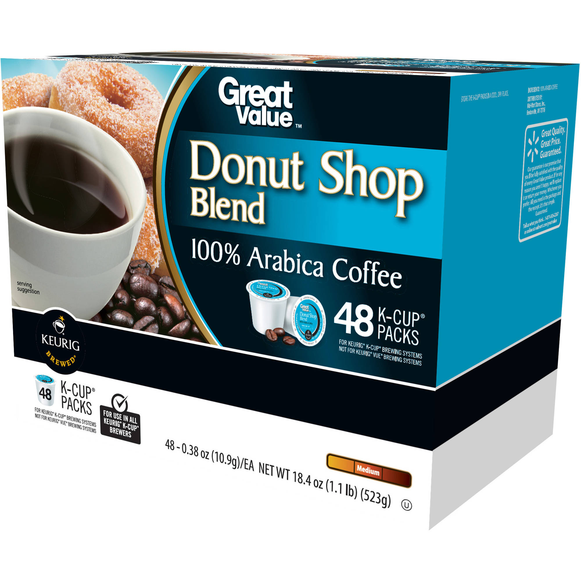 Great Value Donut Shop Blend Medium Roast Coffee K-Cup Packs, 0.38 oz, 48 count