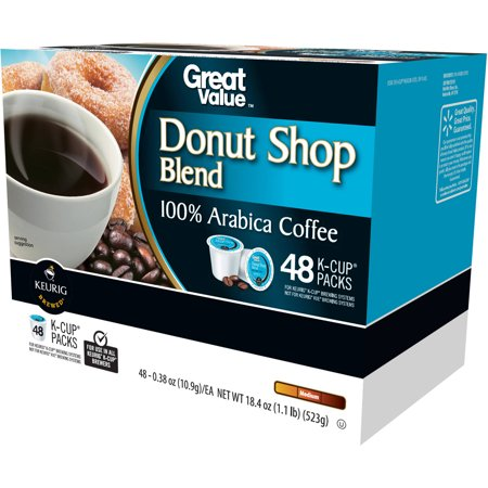 Great Value Donut Shop Blend Medium Roast Coffee K-Cup Packs, 0.38 oz, 48 count $15.98 at  walmart.c online deal