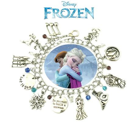 Disney Frozen Charm Bracelet Movie Series Jewelry Multi Charms - Wristlet - Superheroes Brand Movie Collection](Frozen Jewelry)