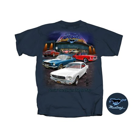 Joe Blow Fmsho U Ford Mustang Showroom Short Sleeve Adult T Shirt Harbor Blue