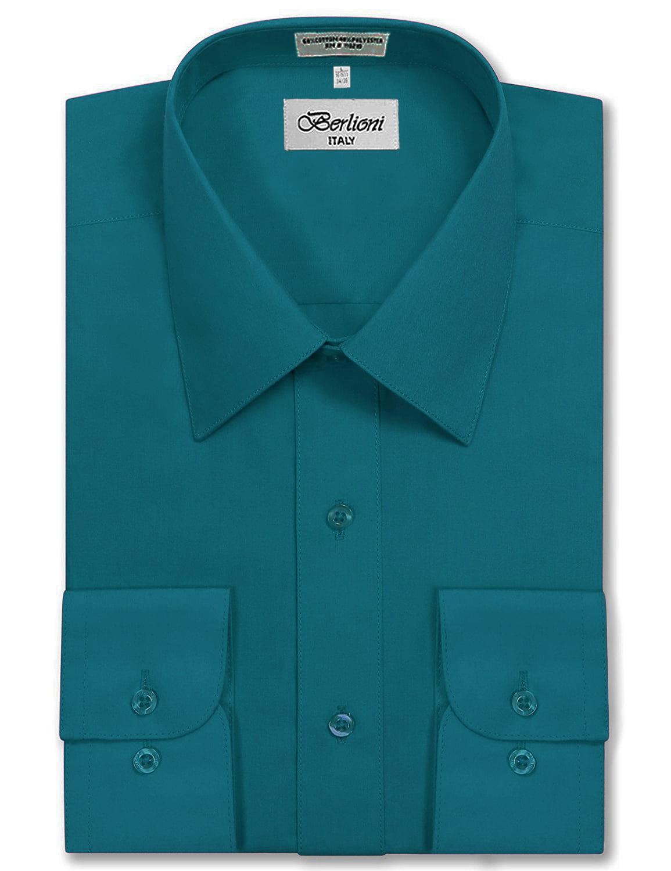 Berlioni Italy Men's Long Sleeve Solid Premium Dress Shirt