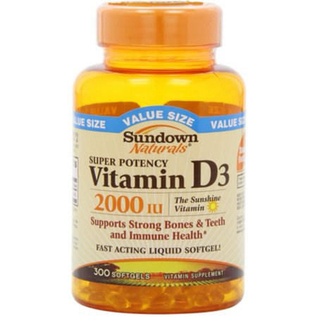 Sundown Naturals Vitamin D3 2000 IU Softgels Super Potency 300 ea