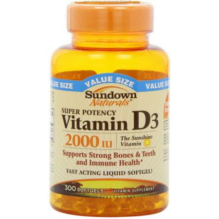 6 Pack - Sundown Naturals Vitamin D3 2000 IU Softgels Super Potency 300