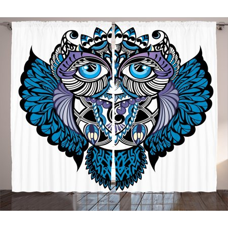 Tribal Curtains 2 Panels Set, Owl Bird Animal with Paisley Tattoo Design with Big Blue Eyes Lashes Print, Window Drapes for Living Room Bedroom, 108W X 63L Inches, Navy Blue and Purple, by Ambesonne