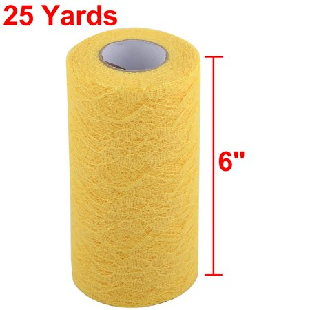 Home Party Lace Banquet Hall DIY Decor Tulle Spool Roll Yellow 6 Inch x 25 Yards - image 3 of 5