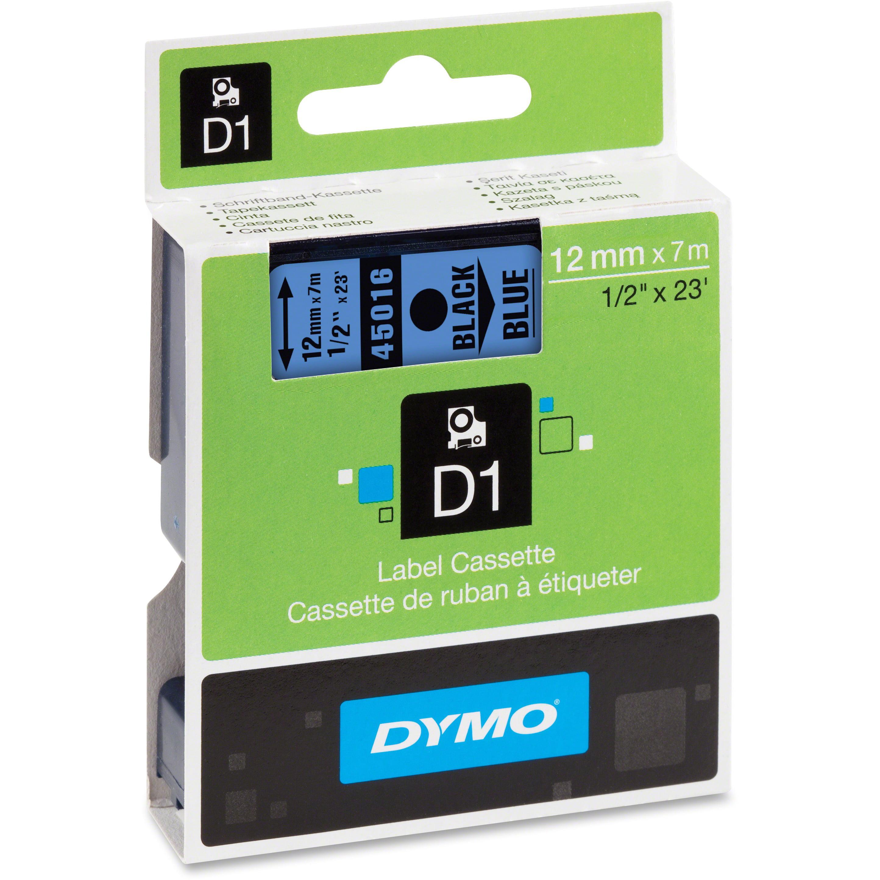 DYMO Standard D1 45016 Labeling Tape ( Black Print on Blue Tape , 1/2'' W x 23' L , 1 Cartridge)