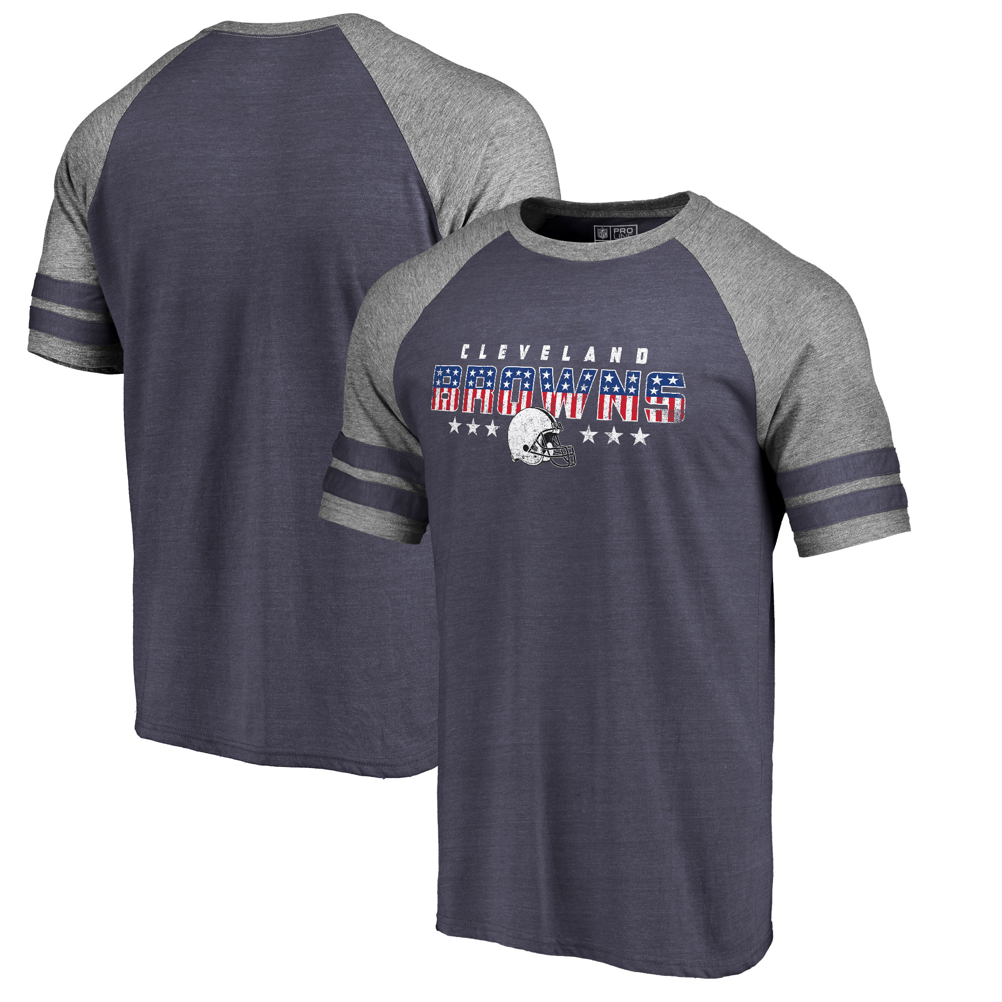 Cleveland Browns NFL Pro Line by Fanatics Branded Spangled Raglan Sleeve T-Shirt - Navy/Heathered Gray
