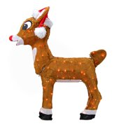 Northlight Seasonal Rudolph the Red-Nosed Reindeer Pre-Lit in Santa Hat Christmas Yard Art Decoration