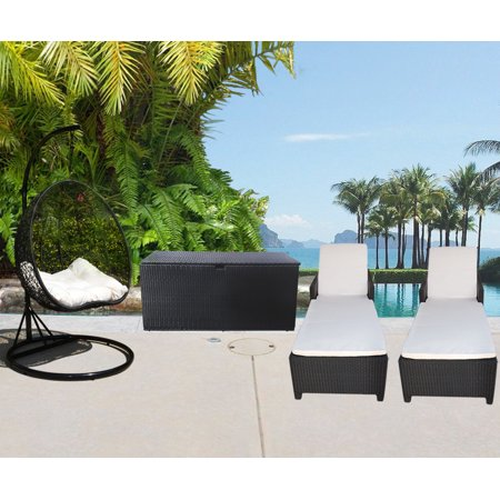 4 pc outdoor patio wicker furniture 1 hanging rattan 2 person egg