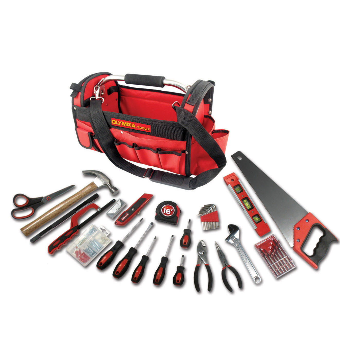 Olympia Tools 90-447 Red & Black Tool Bag 52 Piece Set by OLYMPIA TOOL INTERNATIONAL