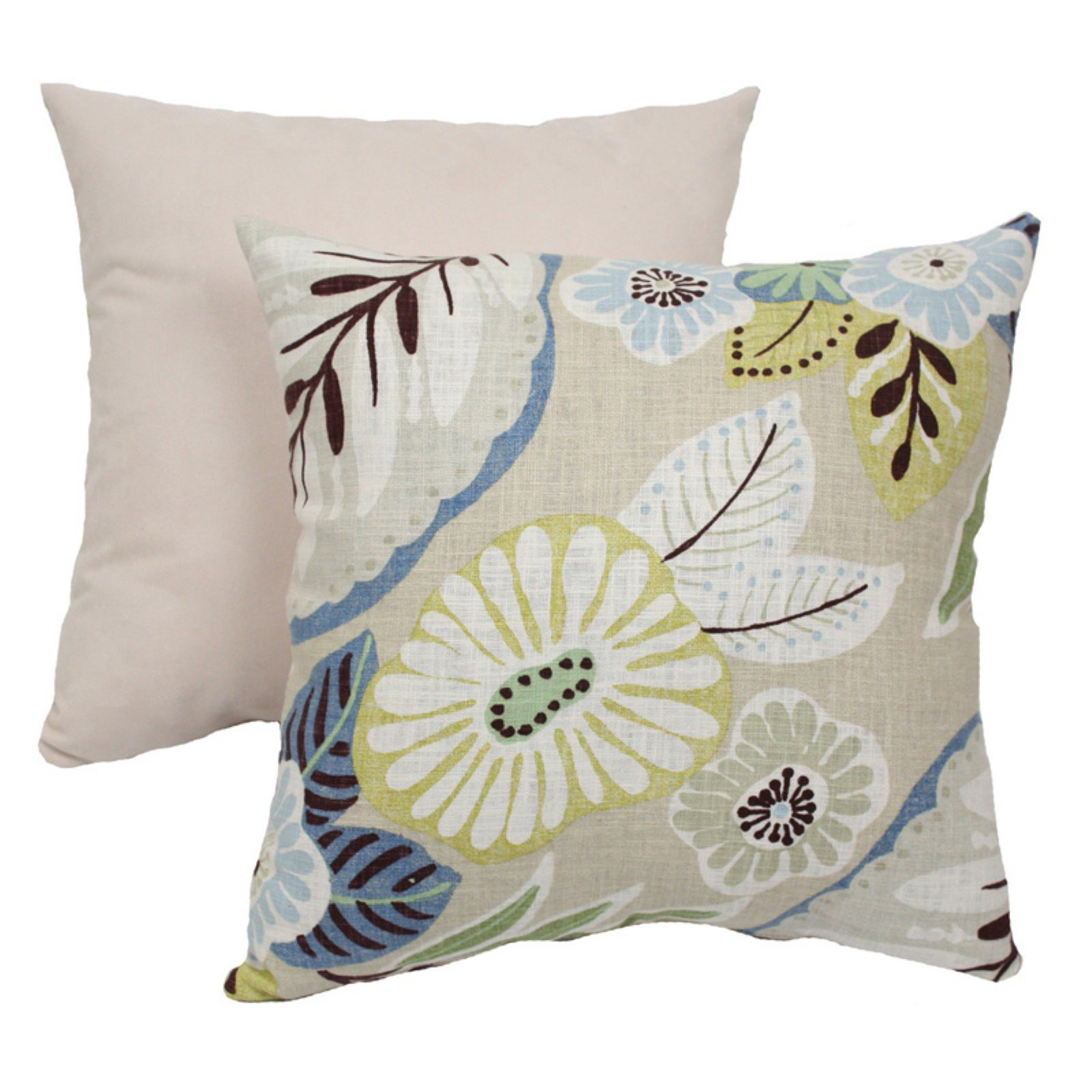 Pillow Perfect Decorative Beige and Blue Tropical Floral Square Toss Pillow by Pillow Perfect