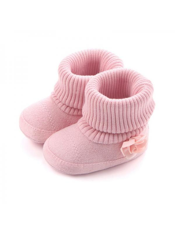 Lavaport 0-12M Baby Girl Winter Snow Boots Flower Cotton Knitted Shoes