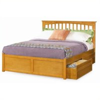 Pemberly Row Platform Bed with Flat Panel Footboard in Caramel Latte -King