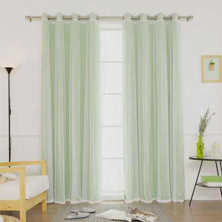 Best Home Fashion 4-Piece Gathered Tulle Sheer and Blackout Silver Grommet Curtain Panel