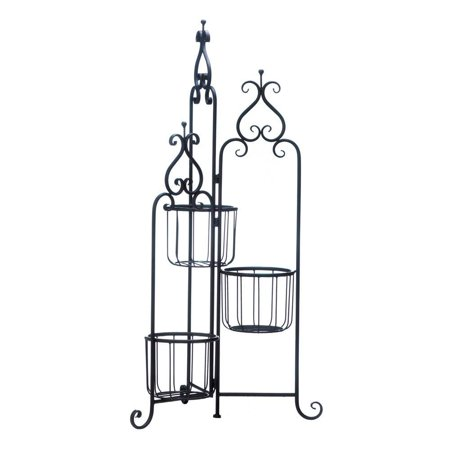 Three Tier Plant Stand Outdoor Standing Rustic Black Iron Pedestal