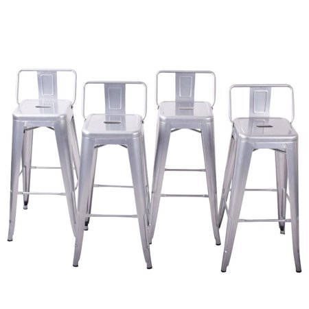 GHP 4-Pcs 330-Lbs Capacity Silver Counter Height Stool with Low Backrest & Footrest