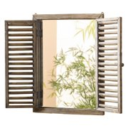 HGC Rustic Shuttered Mirror with Wood Frame