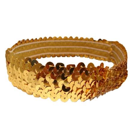 Kenz Laurenz Sequin Headband Girls Headbands Sparkly Hair Head Bands - Gold Feather Headband