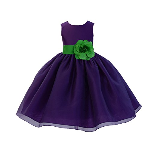 Clothing & Accessories Special Occasion ekidsbridal Purple Satin Bodice Organza Skirt Junior Flower Girl Dress Ballroom Gown 841S