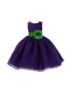 6e4778094ec Product Image Ekidsbridal Purple Formal Satin Bodice Organza Skirt Flower  Girl Dress Pageant Wedding Special Occasion Holiday Easter