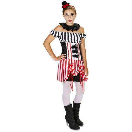 Carn-Evil Vintage Clown Dress Teen Halloween Costume](Evil Clown Halloween Prop)