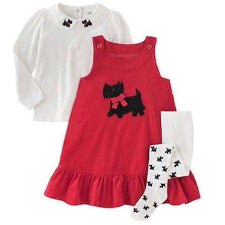 - Gymboree Girls 3 Piece Red Corduroy Jumper Dress (Red, 5)