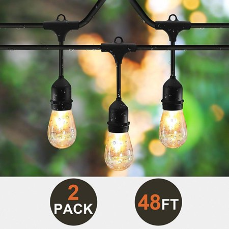 2-pack sunthin 48ft string of lights with 15 x e26 sockets and ...