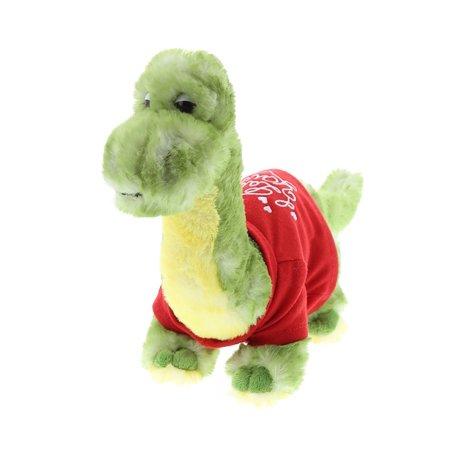 Super Soft Plush Dollibu Green Dinosaur I Love You Shirt Valentines Plush - Green Dinosaur