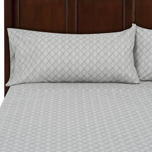 Mainstays Microfiber King Gray Quatrefoil Bedding Sheet Collection