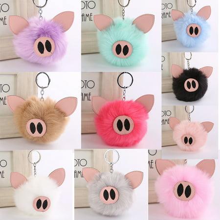 Girl12Queen Fluffy Handbag Pendant Women Embroidered Key Ring Lovely Piglets Keychain Gift