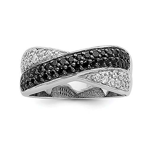 .925 Sterling Silver Black & White CZ Crossed Ring, Size 7 MSRP $159