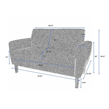 ViscoLogic Mid-Century Sofa for Small Spaces (Love Seat) Grey - image 2 of 8