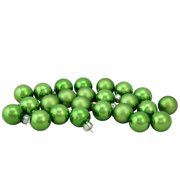 "24-Piece Shiny and Matte Green Glass Ball Christmas Ornament Set 1"" (25mm)"
