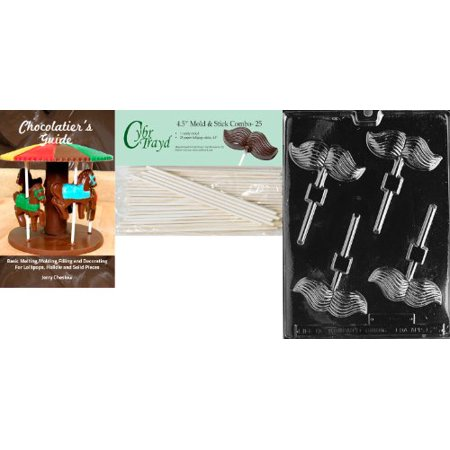 Cybrtrayd 'Mustache Lolly' Dads and Moms Chocolate Candy Mold with 25 4.5-Inch Lollipop Sticks and Chocolatier's Guide