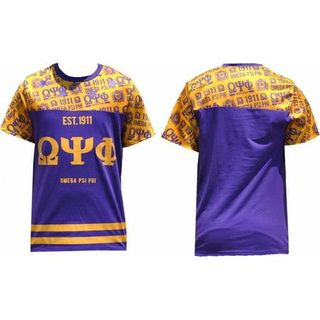 Omega Psi Phi Divine 9 Mens Sublimation Jersey Tee  Purple   M
