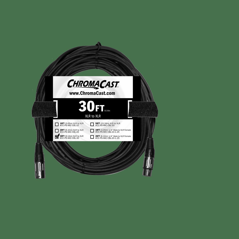 ChromaCast Pro Series Mic Cable 30 Feet, Black, XLR XLR Ends by ChromaCast