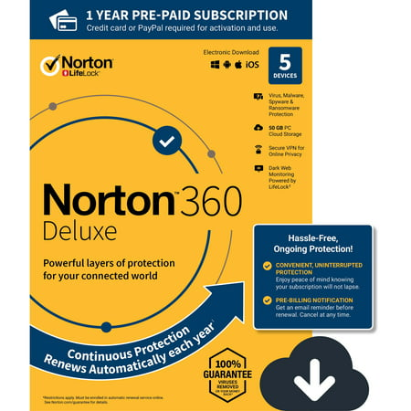 NORTON 360 DELUXE, 1-Year Subscription, 5 DEVICE, PC, MAC [Digital Download] ()