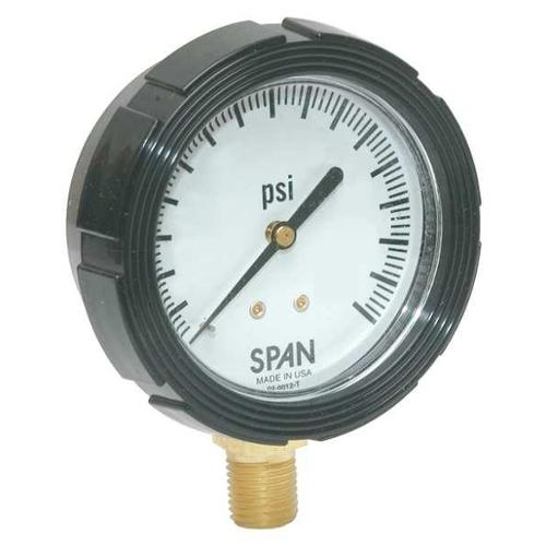 SPAN LFS-210-30-G-CERT Pressure Gauge,0 to 30 psi,2-1/2In,1/4In