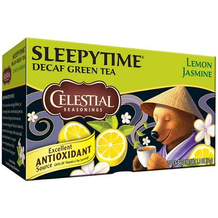 (6 Boxes) Celestial Seasonings Green Tea, Sleepytime Decaf Lemon Jasmine, 20 Count (Tea Lemon Green)