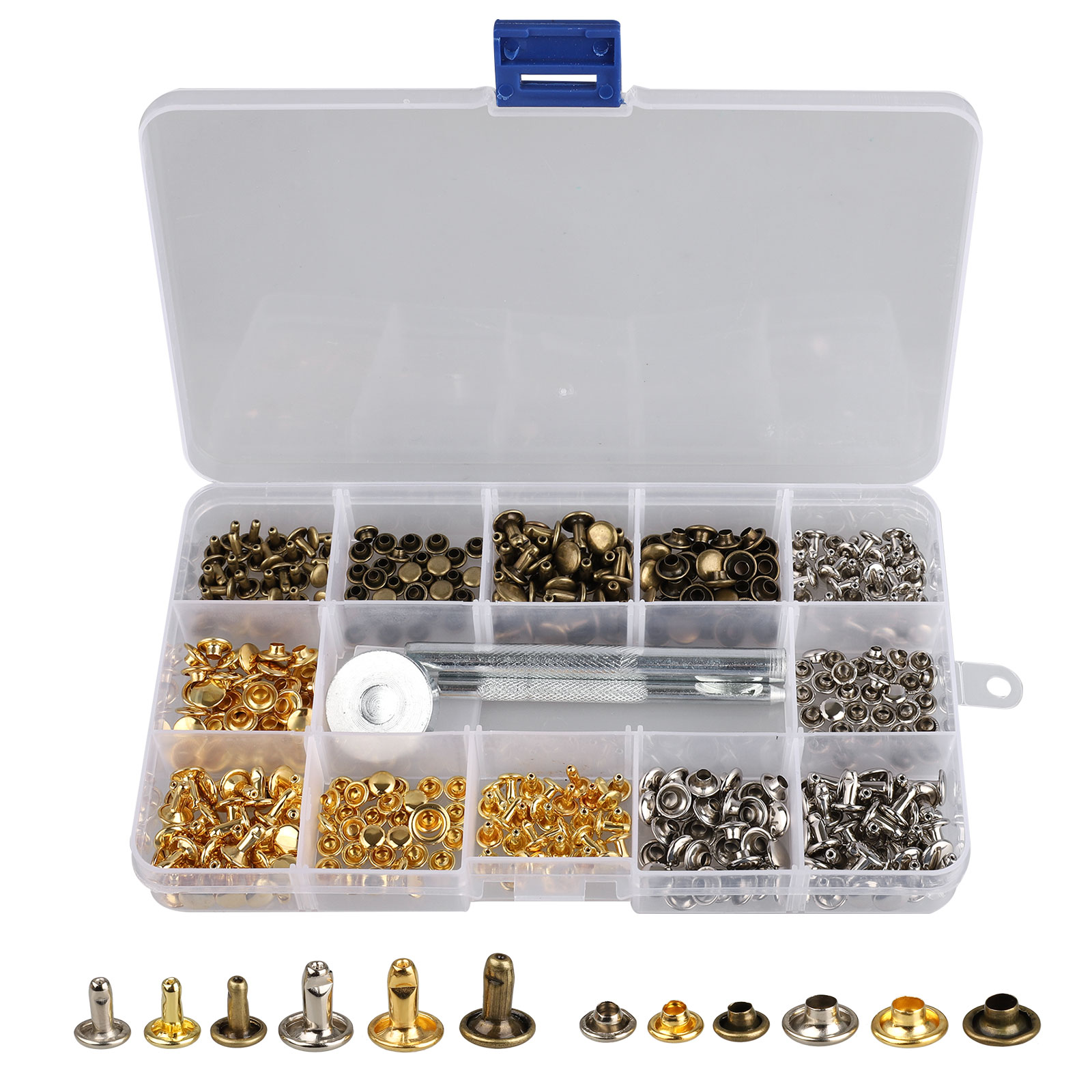 EEEKit 180 Set 2 Sizes Leather Rivets Single Cap Rivet Tubular Metal Studs with 3 Pieces Fixing Tool for DIY Leather Craft Rivets Replacement, 3 Color: Bronze & Gold & silver