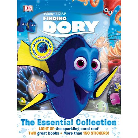 Disney Pixar Finding Dory: The Essential Collection (Hardcover) Go beneath the surface of Disney-Pixar's ocean adventure movies Finding Dory and Finding Nemo with Disney-Pixar Finding Dory: The Essential Collection!A beautiful slipcase houses a Finding Dory Essential Guide and a fun sticker book. Find out about all the exciting new Finding Dory characters and explore key locations, themes, and iconic moments from the Finding Dory and Finding Nemo movies. With more than 60 reusable stickers and a novelty, light-up design coral reef on the front of the slipcase, Disney-Pixar Finding Dory: The Essential Collection is a must-have for every fan of Finding Dory.(c) 2016 Disney/Pixar